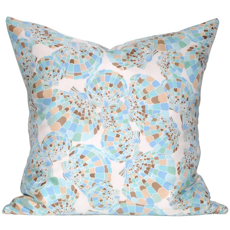 Vintage Oscar de la Renta Turquoise Silk Scarf with Irish Linen Cushion Pillow