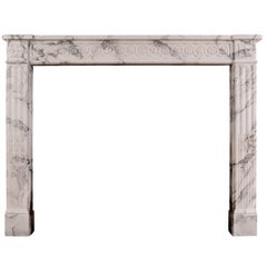 French Louis XVI Marble Fireplace Italian Arabescato