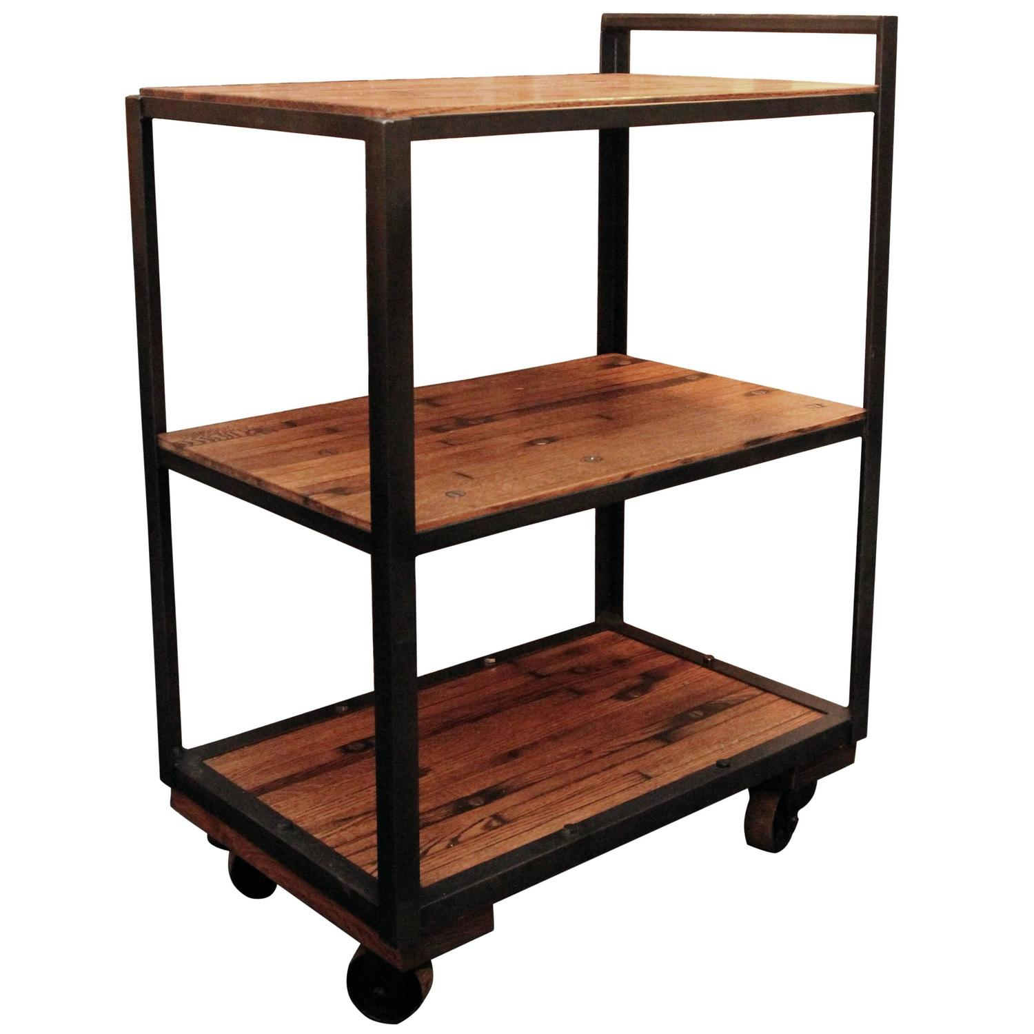 Very Impressive portraiture of Industrial Bar or Tea Cart with Salvaged Wood Flooring Shelves and  with #A04C2B color and 1500x1500 pixels