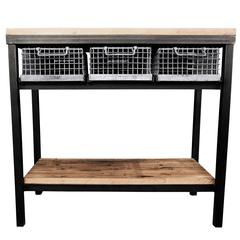 Industrial Console Table with Galvanized Baskets and Butcher Block Flooring Top