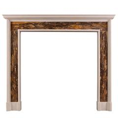 White and Siena Brocatelle Marble Fireplace in the Queen Anne Style