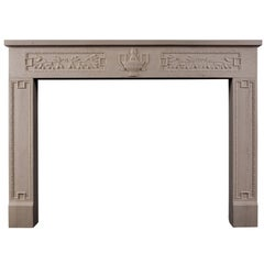 Rustic French Limestone Fireplace in the Louis XVI Style
