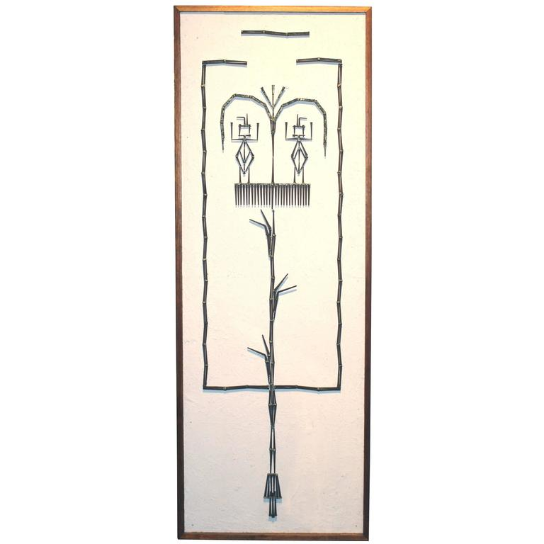 Mid-Century Modern Plaster and Metalwork Brutalist Wall Art For Sale