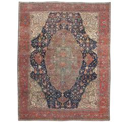 Late 19th Century Rose and Ivory Floral Fereghan Sarouk Carpet
