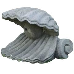 20th Century Italian Oyster Fountain Head Ornament in Limestone
