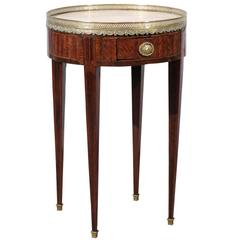 19th Century French Louis XVI Style Tulipwood Inlaid Marble Top Bouillotte Table