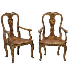 Paar Venezianische Lackierte Lehnstühle aus dem 18. Jahrhundert