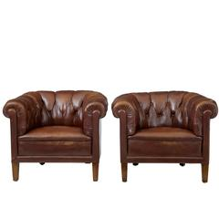 Pair of 1920s Leather Club Button Back Armchairs