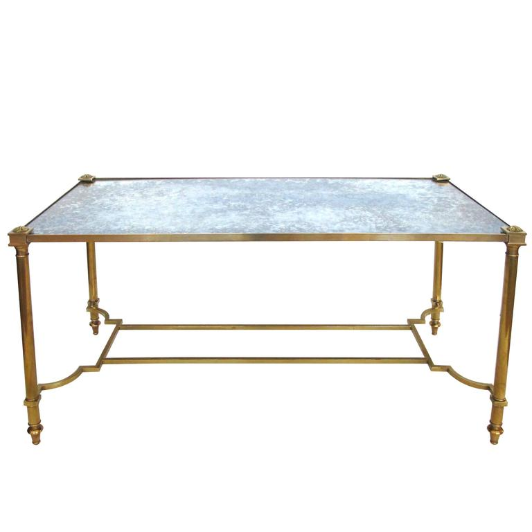 Stylish French Neoclassical Style Rectangular Brass Coffee Table For Sale At 1stdibs