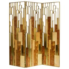 Gold Elm Root Screen with Brass and Wood Veneer