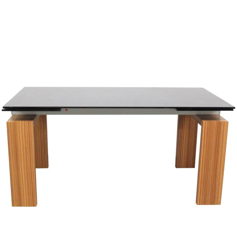 tonin casa brooklyn glass top extension dining table for