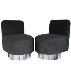 Pair of 1970s Swiveling Slipper Chairs