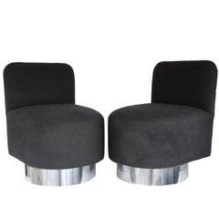 Pair of 1970s Swiveling Slipper Chairs