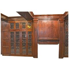Complete Walnut Library with Diamond Pane Leaded Glass Doors, circa 1917
