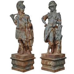 True Pair of Lifesize French 19th Century Neoclassical Style Cast Iron Statues