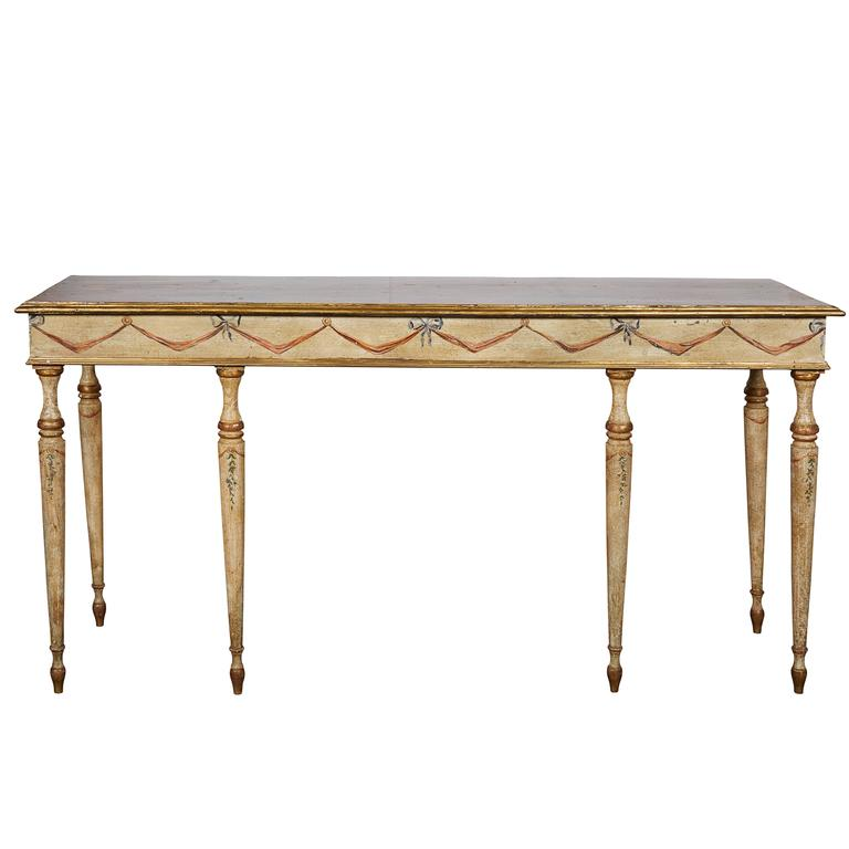 Louis XVI Style Painted Console Table with Faux Marble Top