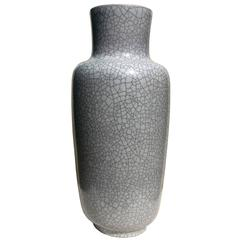 Large Floor Vase in Gray Crackled Glaze by Glatzle for Karlsruhe Majolica, 1960