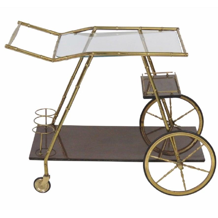 Italian Modern Brass Faux Bamboo Bar Cart