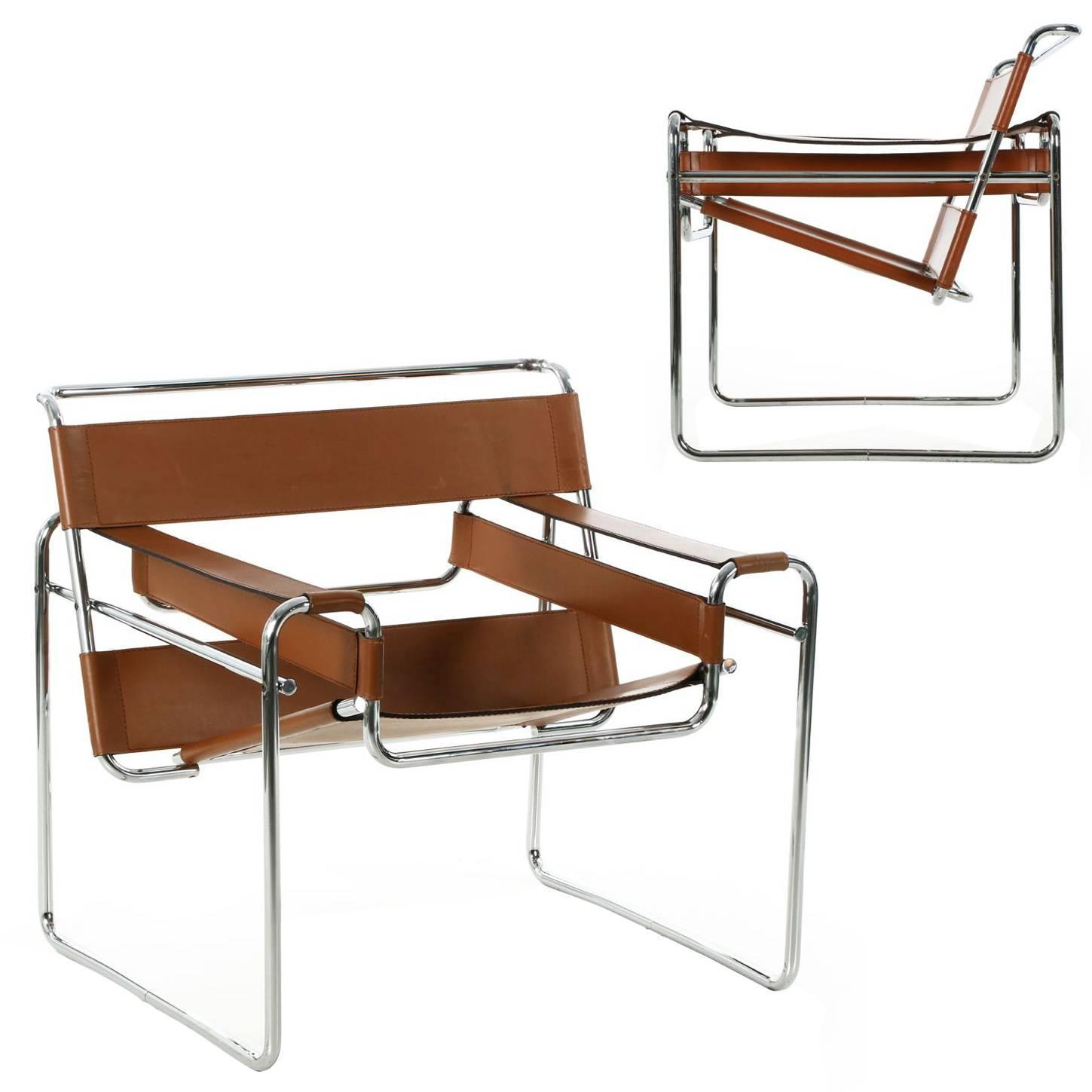 """Pair of Vintage Breuer """"Wassily"""" Armchairs in Original Leather"""