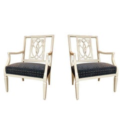 Pair of Gray Lacquered Armchairs with Blue Velvet Detail Upholstery