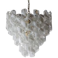 Mid-Century Italian Modern Mazzega Murano Spiral Glass Chandelier