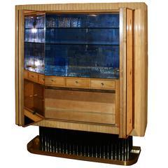 1930s Bar by Osvaldo Borsani for Fontana Arte in Mirror and Maple
