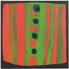 Orange, Black and Green Australian Aboriginal Square Painting by Dolly Snell