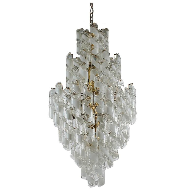Monumental Mid-Century Italian Modern Mazzega Murano Spiral Glass Chandelier For Sale