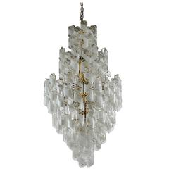 Monumental Mid-Century Italian Modern Mazzega Murano Spiral Glass Chandelier