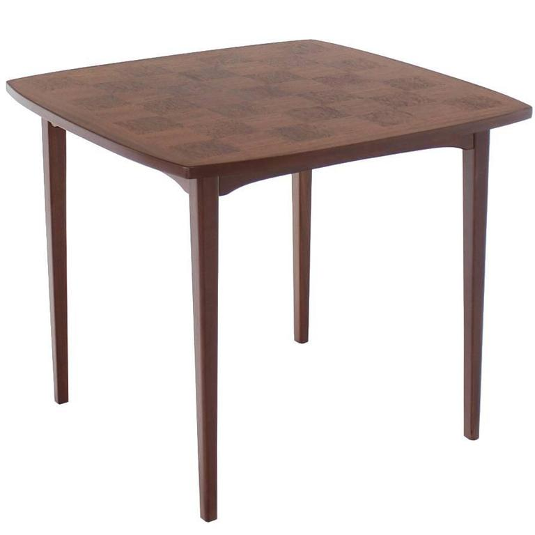 Danish mid century modern parquetry top game table for for Contemporary game table and chairs