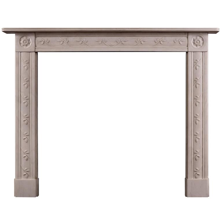 Delicate English Regency White Marble Fireplace