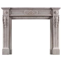 French Louis XVI Style Carrara Marble Antique Fireplace