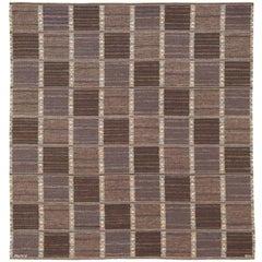 "Mid-20th Century Swedish Flat Weave Carpet, ""FALURUTAN, MÖRK"""