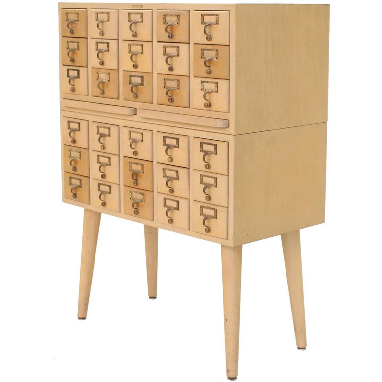 Solid Wood Index Card File Cabinet