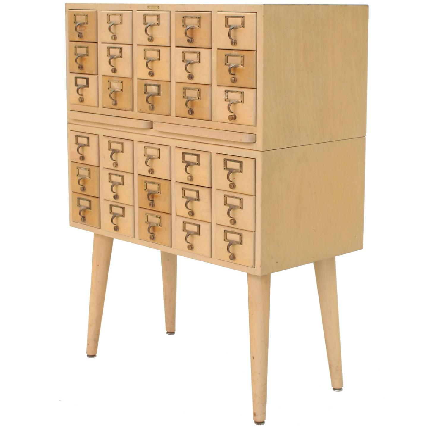 Outstanding vintage all wood index card file cabinet for