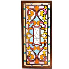 Late Victorian Jeweled Stained Glass Window