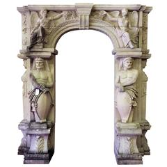 Stone Entry with Atlas Figures, Winged Ladies and Acanthus Leaves
