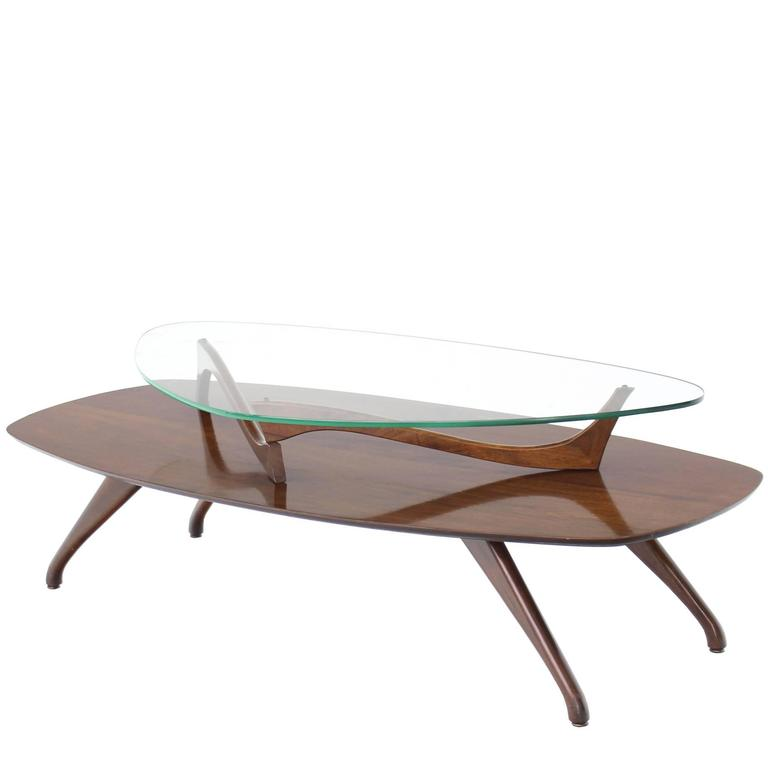 Walnut And Glass Two-Tier Oval Coffee Table For Sale At