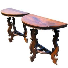 Pair of 18th Century Walnut Italian Demilune Tables