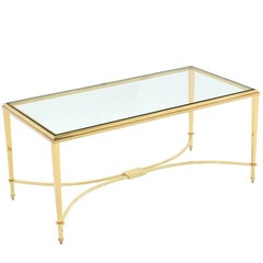 Solid Brass and Glass Top Coffee Table