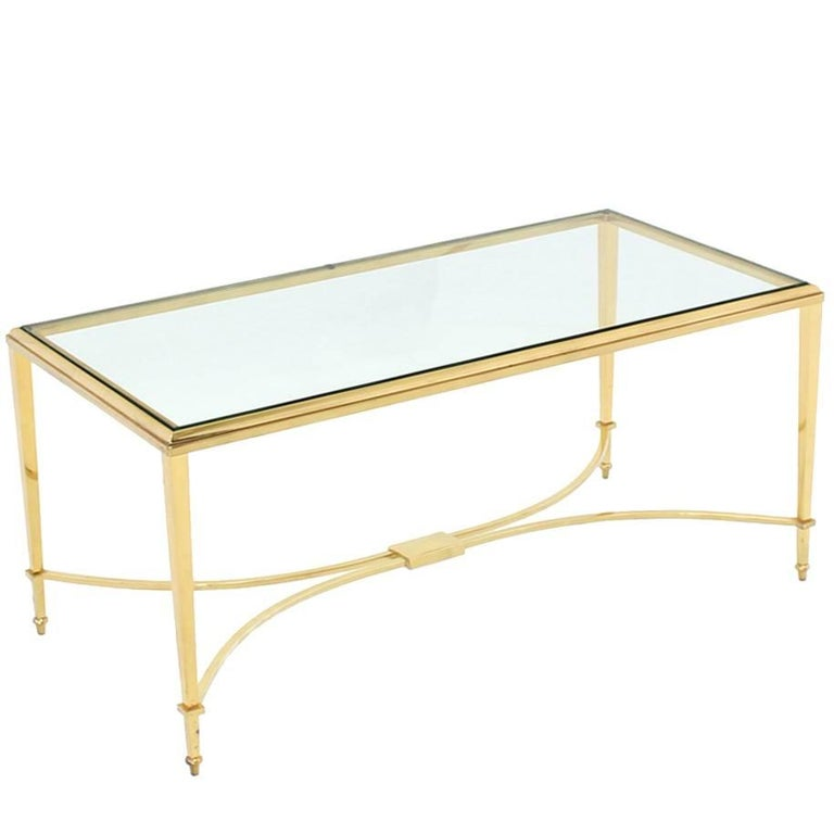 Solid Brass and Glass Top Coffee Table For Sale