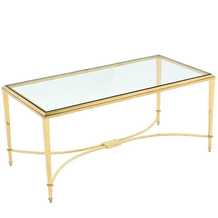 Solid Brass And Glass Top Coffee Table For Sale At 1stdibs