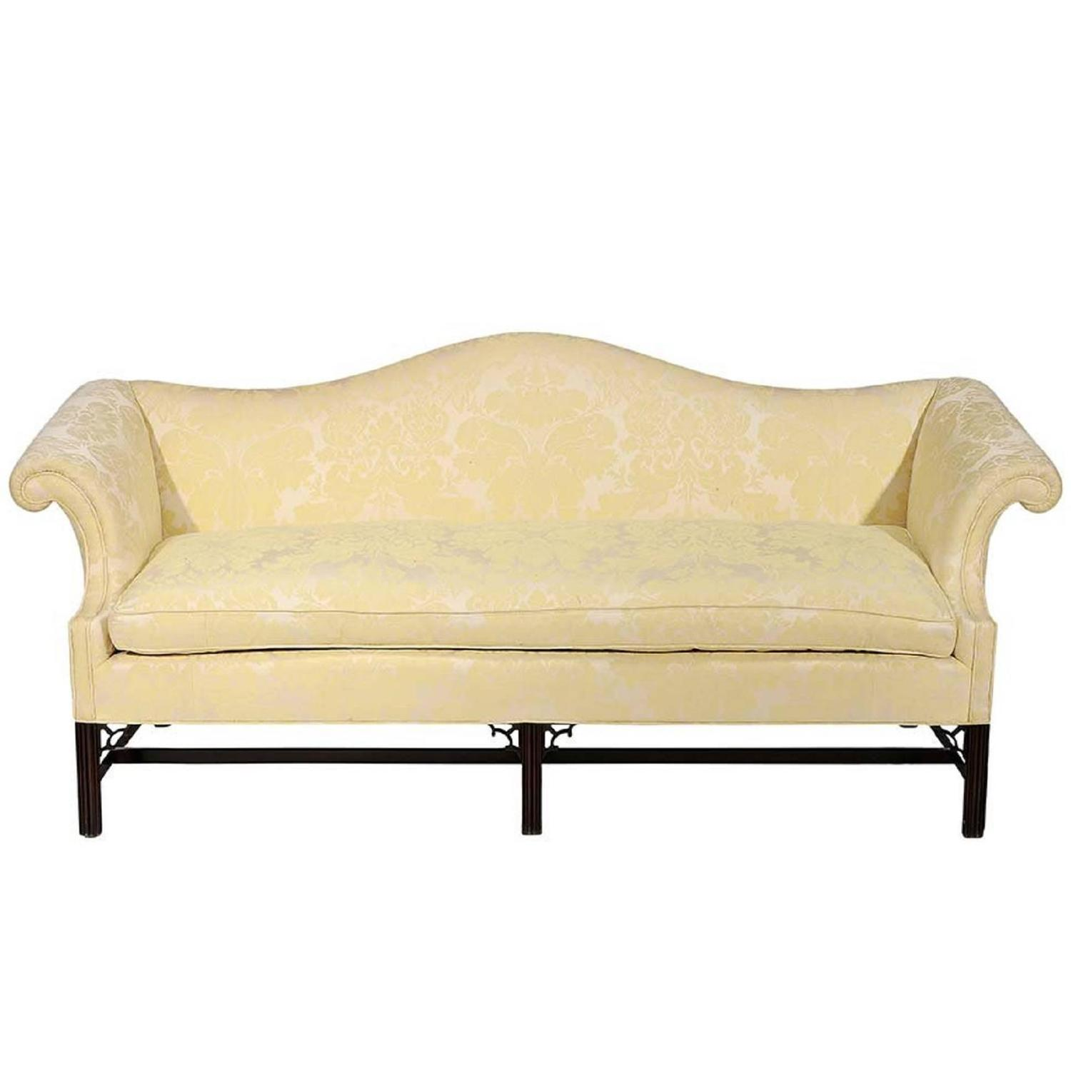 Chippendale Style And Upholstered Camelback Sofa Late 19th Century For Sale At 1stdibs