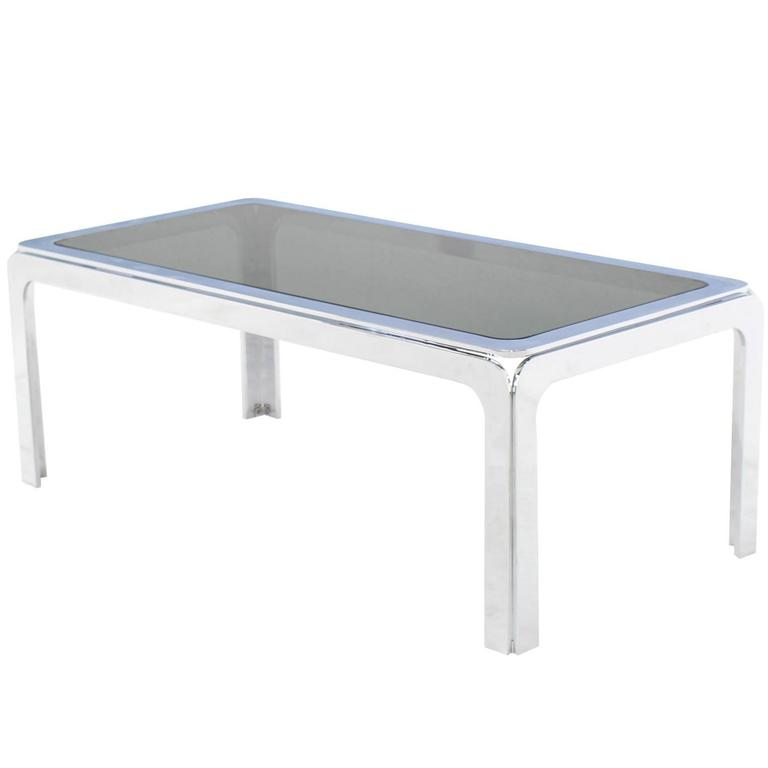 Emerson Rectangular Mod Swivel Coffee Table W Glass: Chrome And Smoke Glass Top Rectangular Coffee Table For