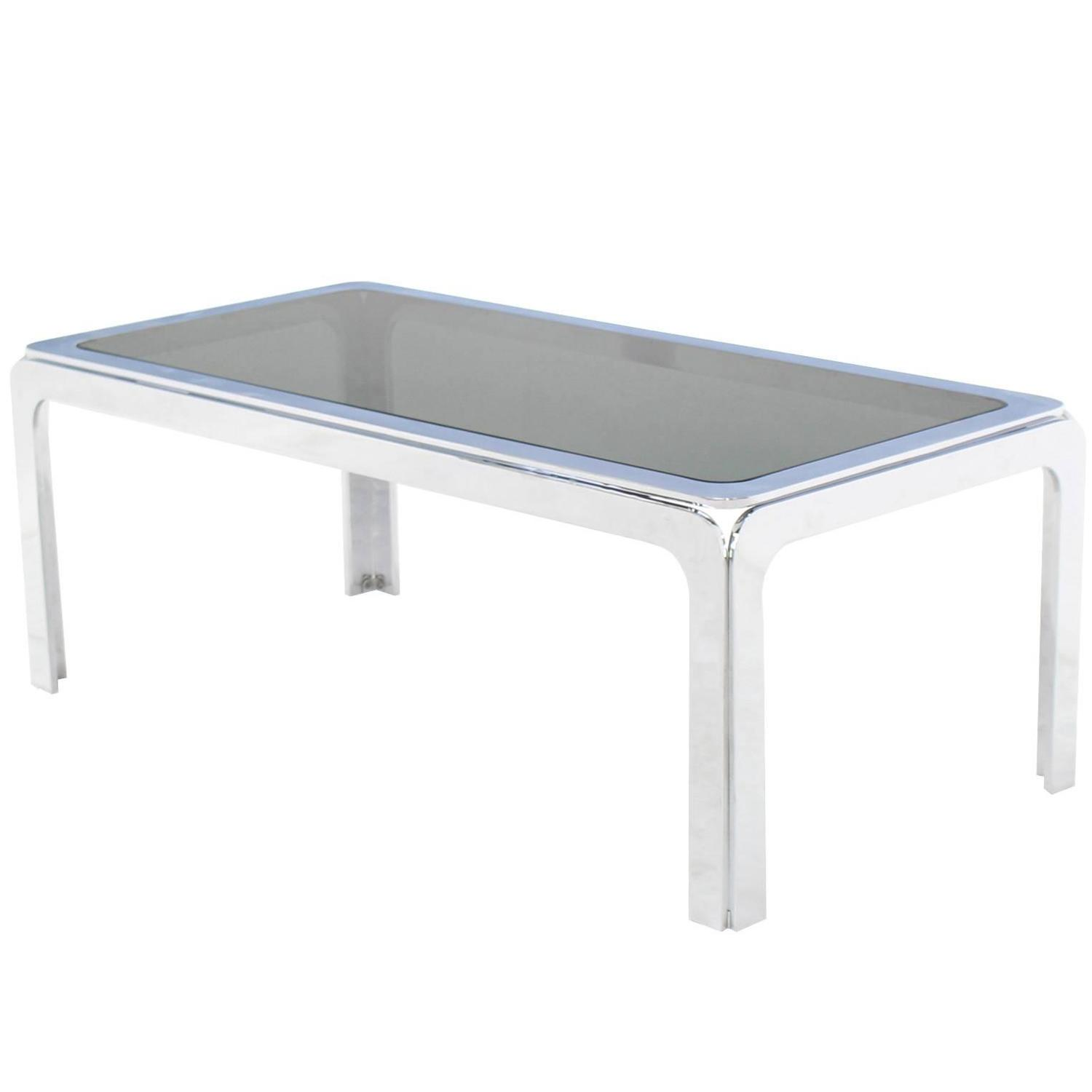 Chrome And Smoke Glass Top Rectangular Coffee Table For Sale At 1stdibs
