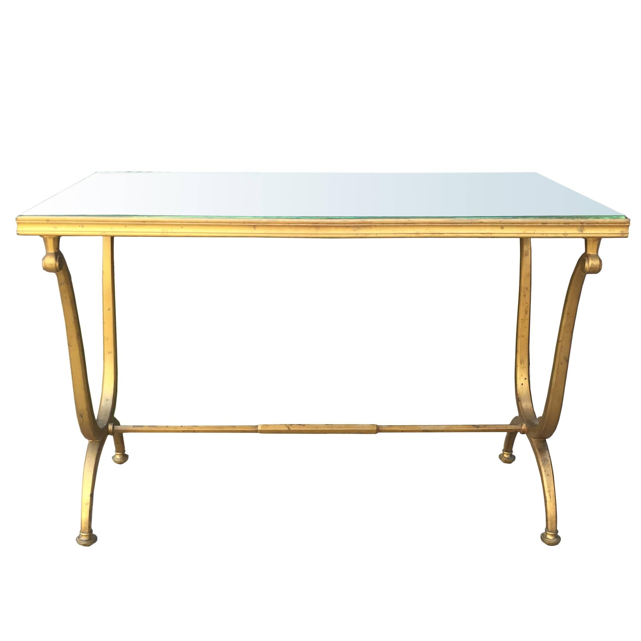 1940s French Bronze Table with Mirrored Top