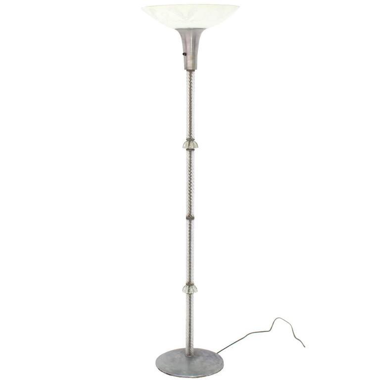 twisted glass pole floor lamp for sale at 1stdibs. Black Bedroom Furniture Sets. Home Design Ideas