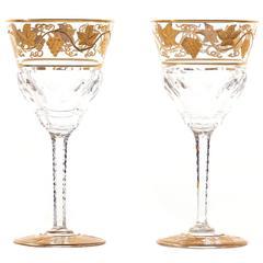 "12 Val St. Lambert ""Pampre D'or"" Wine Glasses"