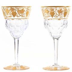 "12 Val Saint Lambert ""Pampre D'Or"" Water Goblets"