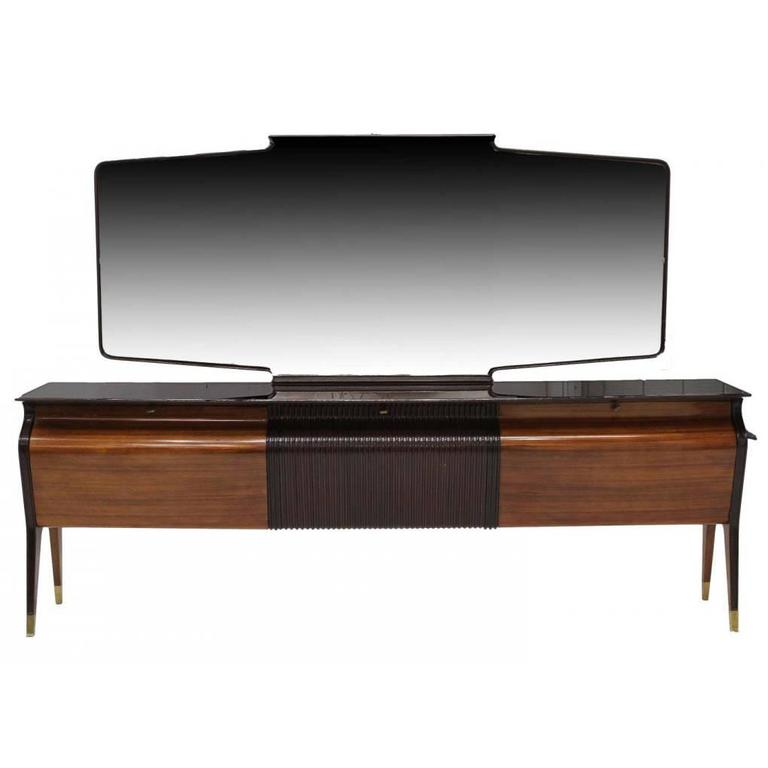 A Large Italian Sideboard Credenza with Mirror in the style of Osvaldo Borsani